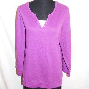 2X Petite Catherines Purple White Knit Top NWT